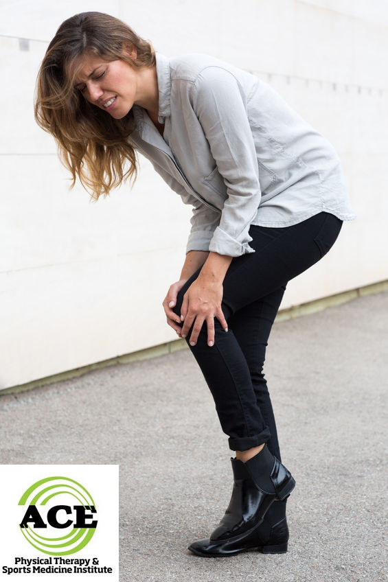 49686546 - attractive woman having knee pain while walking
