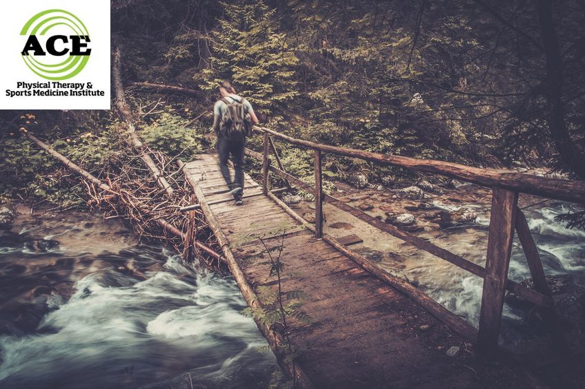 37682333 - hiker with hiking poles  walking over wooden bridge in a forest