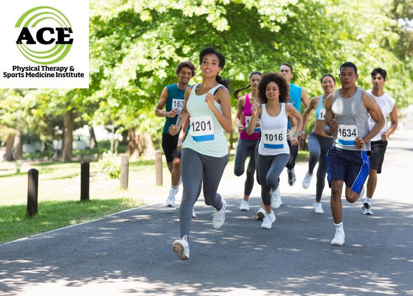 27149427 - group of marathon athletes running on street