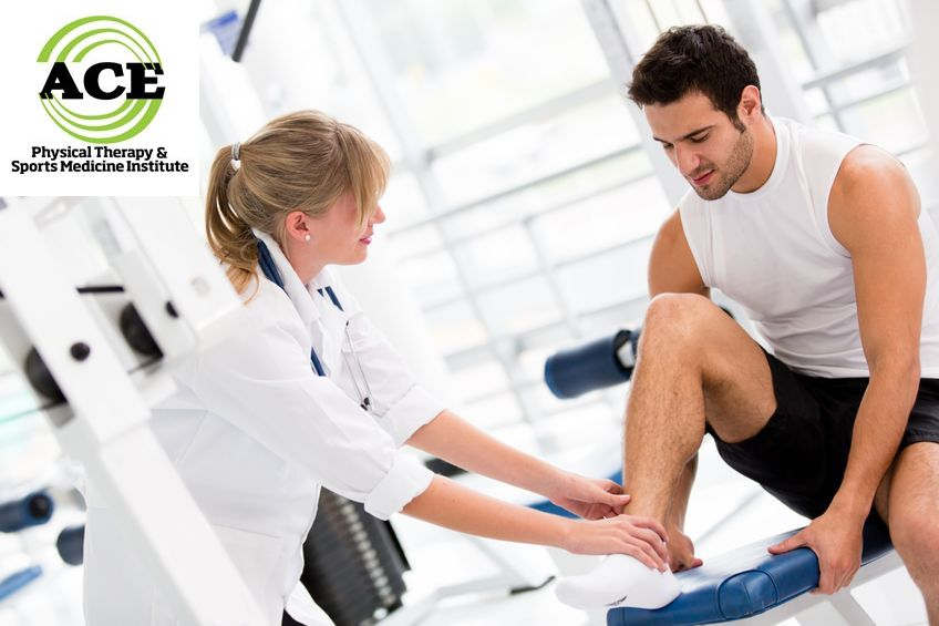 14599868 - injured man at the gym feeling pain in his ankle