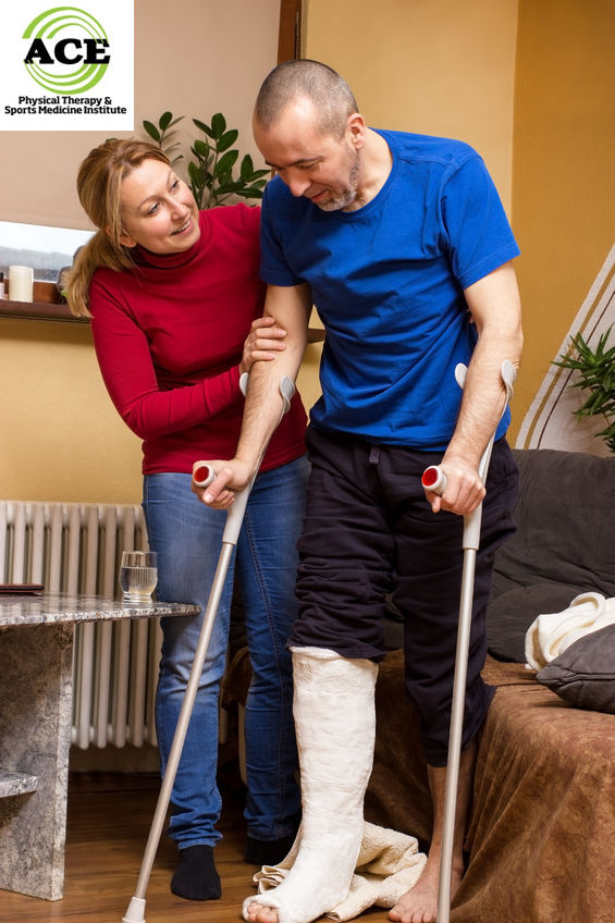 39535817 - a man with broken leg taking its first steps with crutches