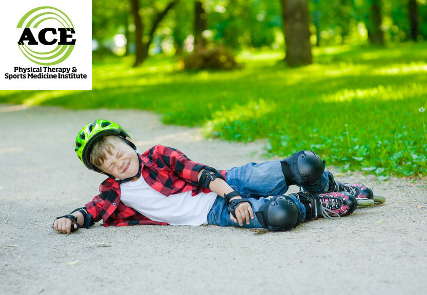 81869978 - boy falling on roller skates.