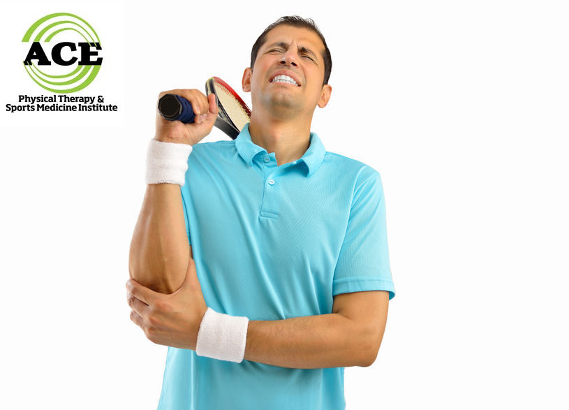 66207751 - shot of a tennis player with a elbow injury over white background